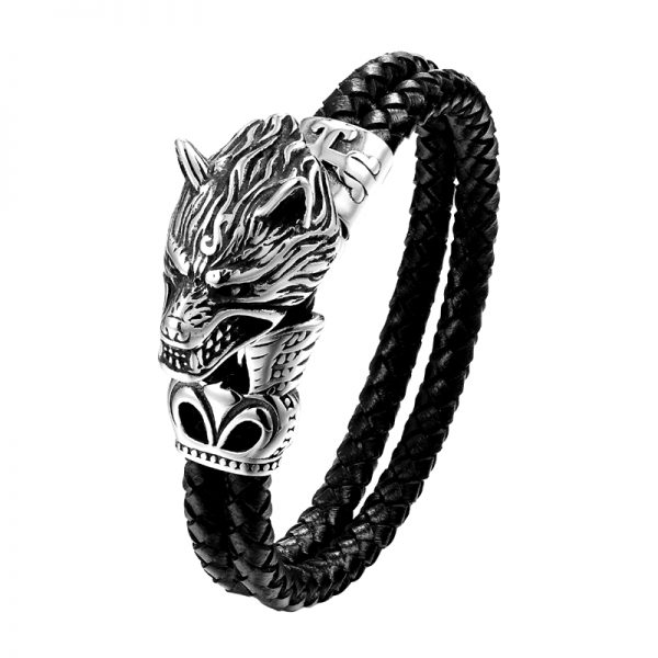 Bracelet tête de loup en métal
