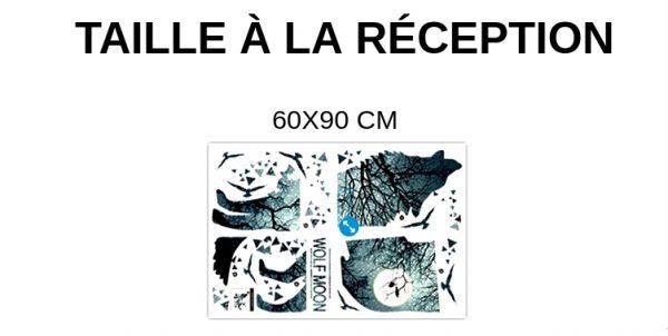 GUIDE TAILLE À LA RÉCEPTION STICKERS LOUP WOLF MOON