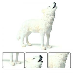 Figurine Loup Blanc Hurlant avec 3 plan différent
