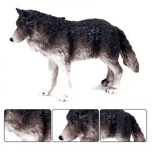 Figurine Loup Gris Foncé vue de profil avec 3 plan différent