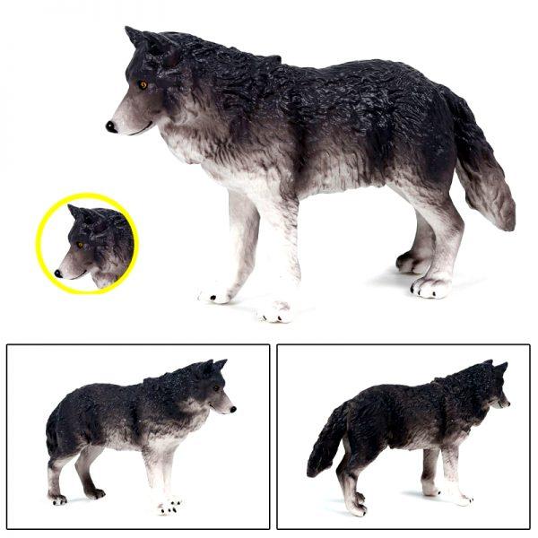 Figurine Loup Gris Foncé vue de profil avec 2 plan différent