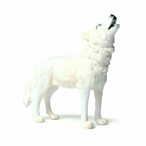 Figurine Loup Blanc Hurlant vue de profil
