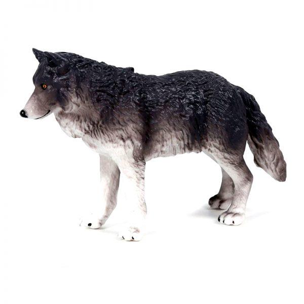 Figurine Loup Gris Foncé vue de profil