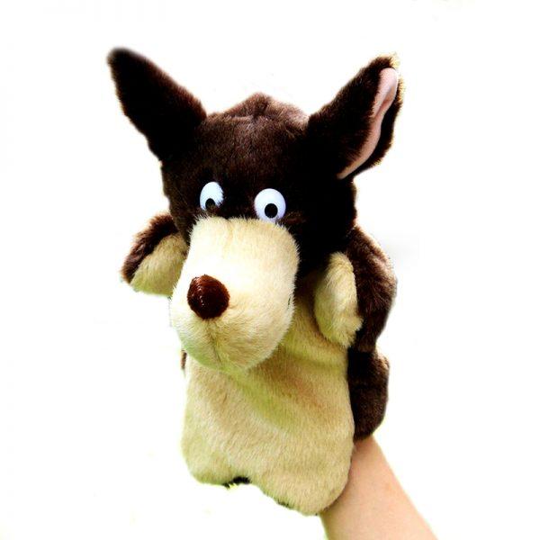 Marionnette loup marron et beige vue de face avec un avant bras