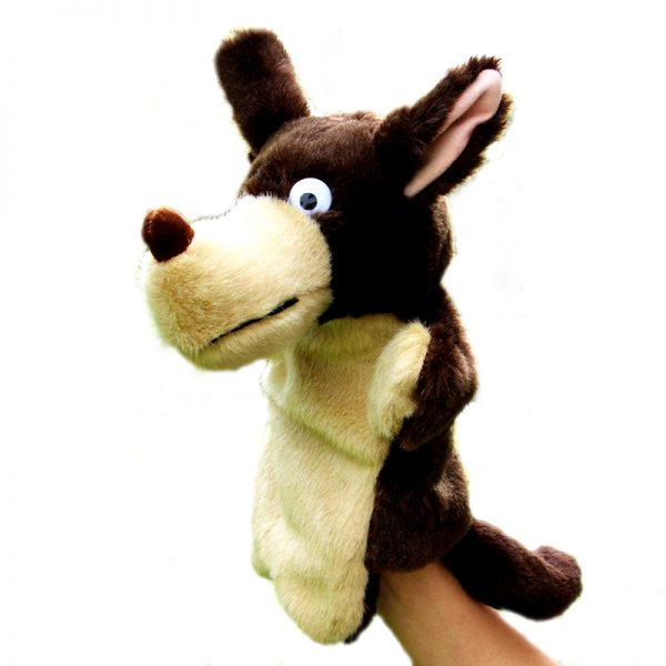 Marionnette loup marron et beige vue de coté droit avec un avant bras