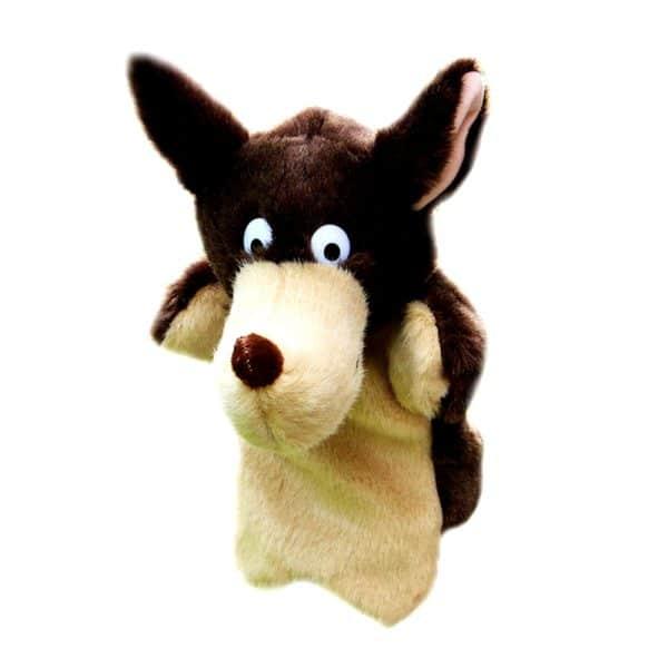 Marionnette loup marron et beige vue de face