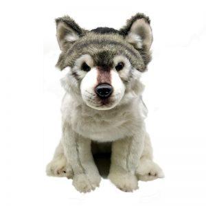 Peluche d'un loup gris assis vue de face
