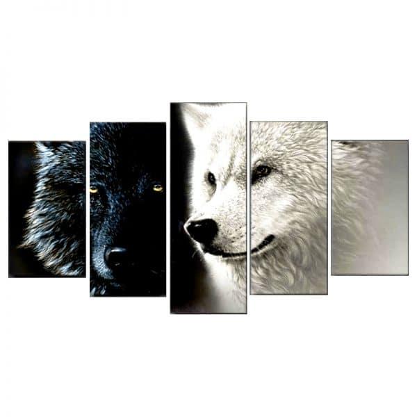 Tableau Loup avec Deux Loup un noir et un blanc