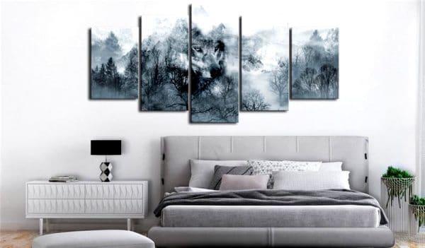 Tableau Loup Abstrait sur un mur dans un salon