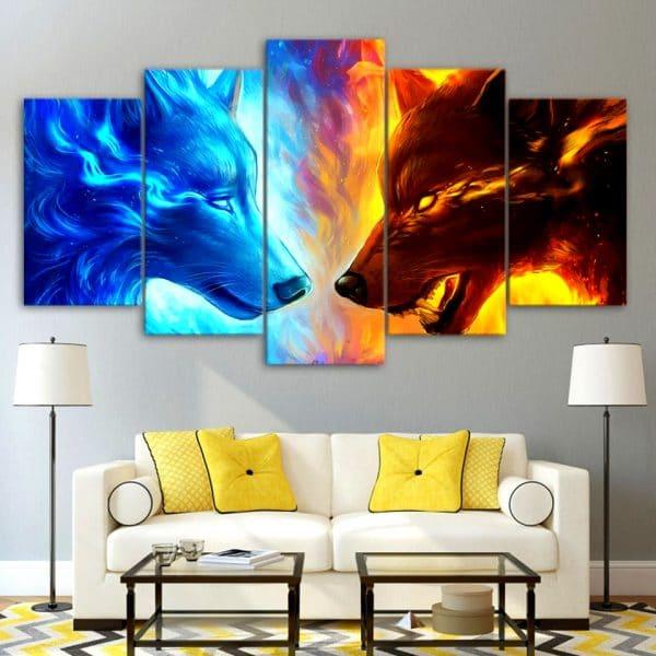Tableau Loup Feu et Glace sur un mur dans un salon