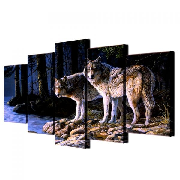 Tableau Loup Gris vue de coté