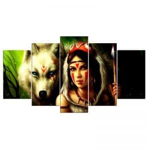 Tableau Loup Mural avec Indienne