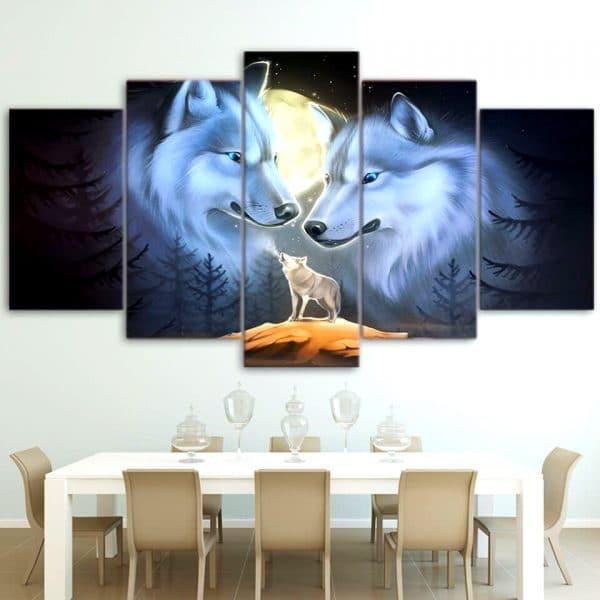 Tableau Loup Dessin sur un mur dans une salle à manger