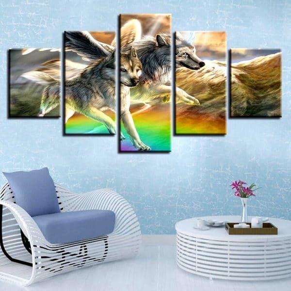 Tableau Loup Toile Arc-En-Ciel sur un mur dans un salon