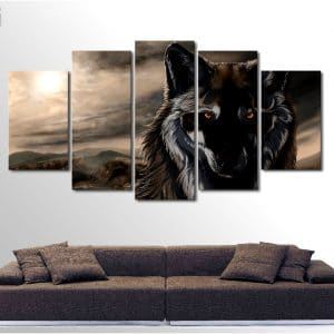 Tableau Loup En Plusieurs Parties sur un mur dans un salon