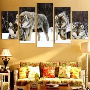 Tableau Meute de Loup sur un mur dans un salon