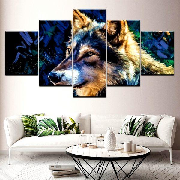 Tableau Loup Imprimé sur un mur dans un salon