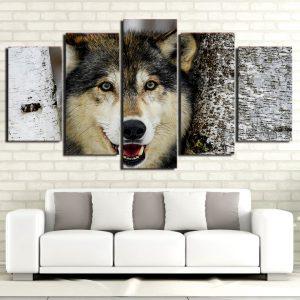 Tableau Tête de Loup sur un mur dans un salon
