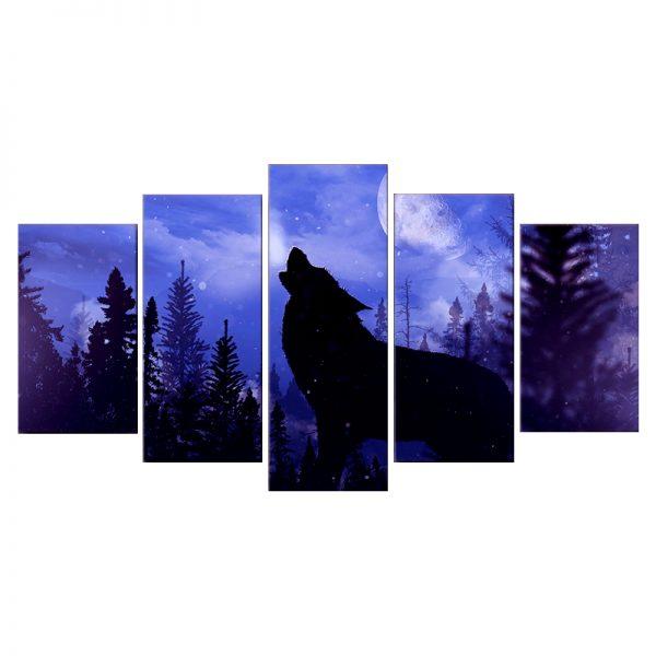Tableau Loup Bleu Violet