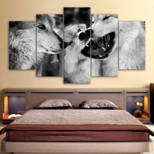 Tableau Comportement des Loups sur un mur dans une chambre