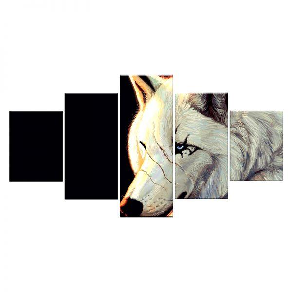 Tableau Loup Blanc Cicatrice