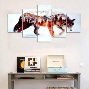 Tableau Loup Art Abstrait sur un mur dans un bureau