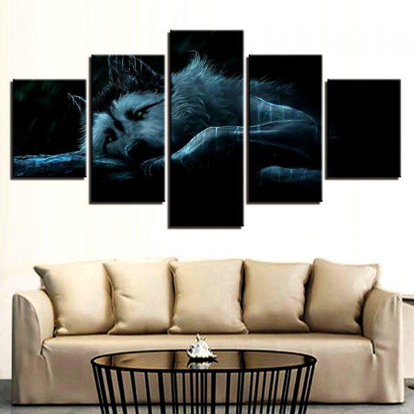 Tableau Loup Émotion sur un mur dans un salon