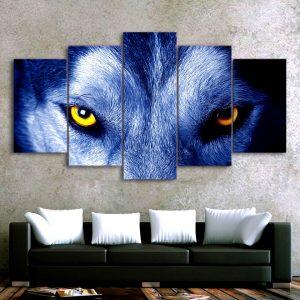 Tableau Regard de Loup sur un mur dans un salon