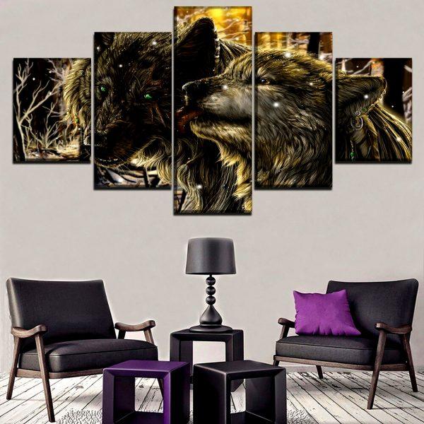 Tableau Loup Style Dessin sur un mur dans un salon