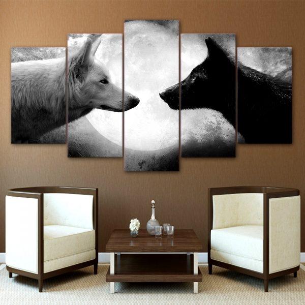 Tableau Loup Face à Face sur un mur dans un salon