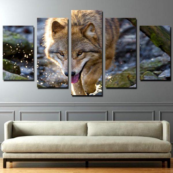 Tableau Loup Éclaboussure d'Eau sur un mur dans un salon