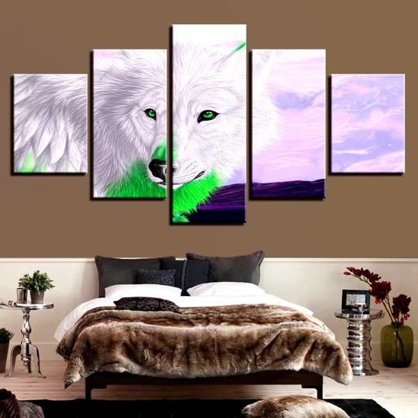 Tableau Loup Style Dessin Animé sur un mur dans une chambre