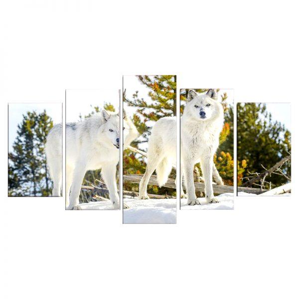 Tableau Loup Blanc Forêt