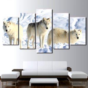 Tableau Loup Blanc Arctique sur un mur dans un salon