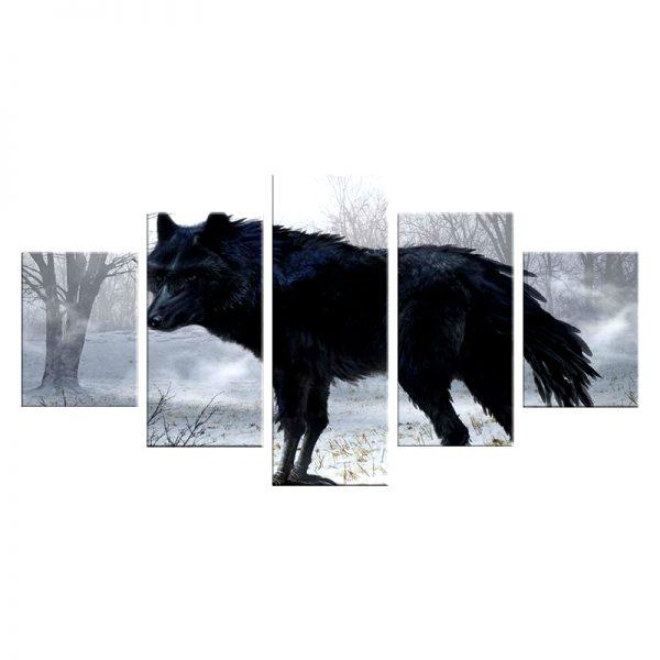 Tableau Loup Noir Forêt