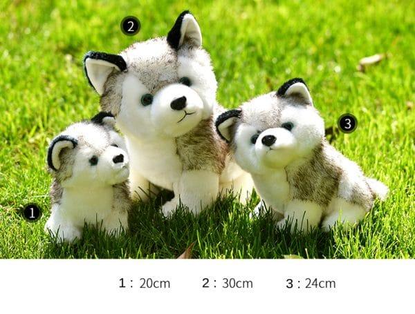 3 Peluche Loup Husky dans l'herbe