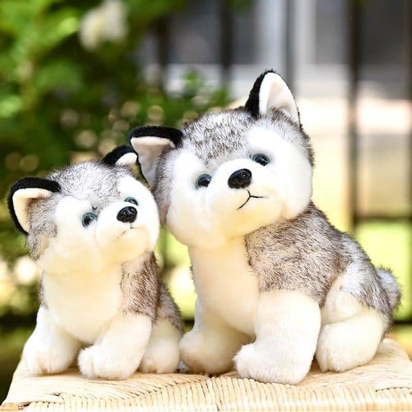 2 Peluche Loup Husky