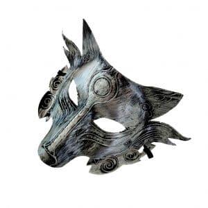Masque Loup Argenté/Gris sur le coté