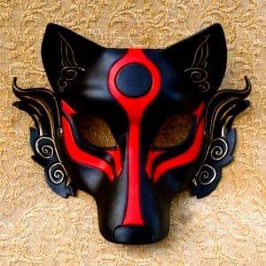Masque Loup Japonais avec un fond