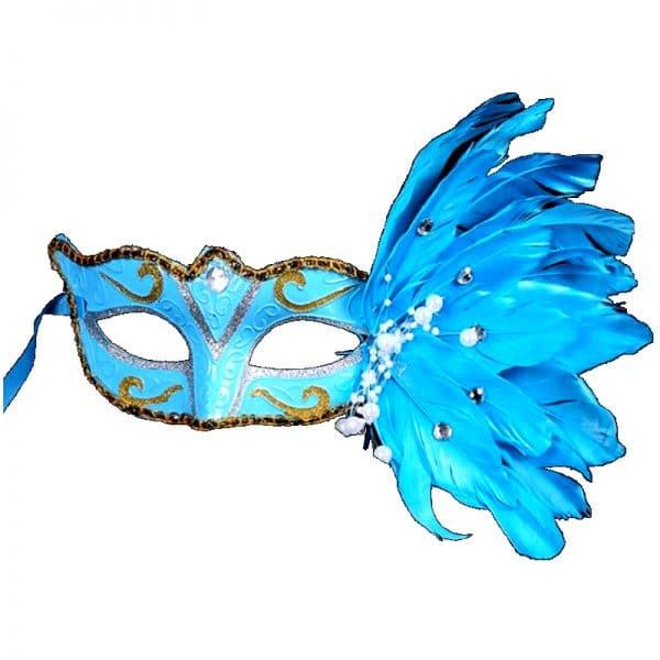 Masque Loup Plume Bleu