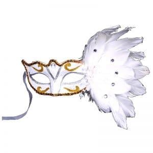 Masque Loup Plume Blanc
