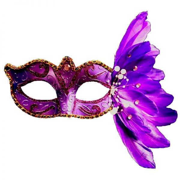 Masque Loup Plume Violet