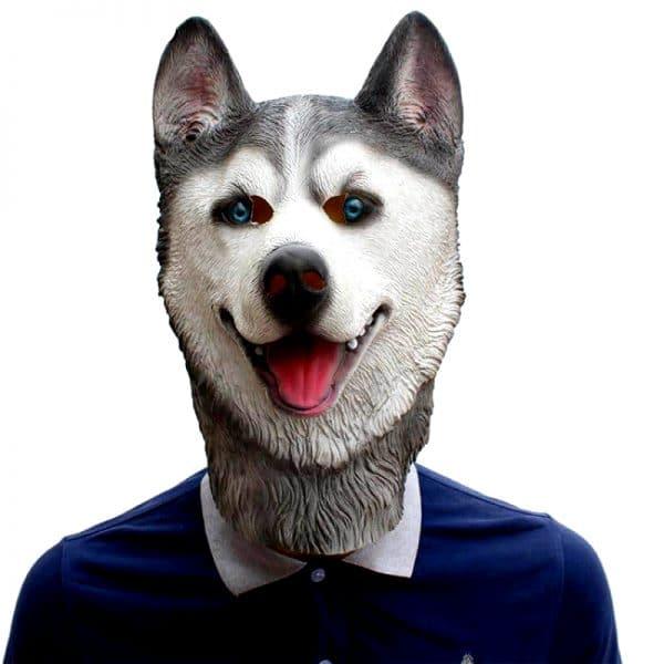 Masque Loup Gris et Blanc vue de face