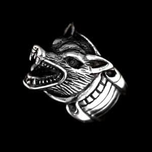 Bague Loup Argent vue de coté