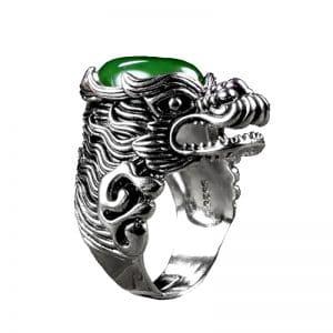 Bague Loup Jade Vert