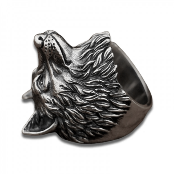 Bague Loup Roi vue de coté