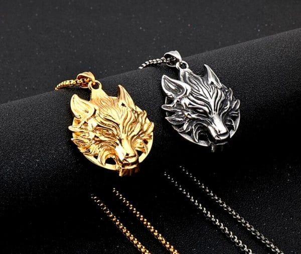 Collier Tête de Loup couleur or et argent