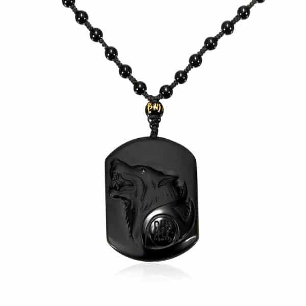 Collier Loup Obsidienne