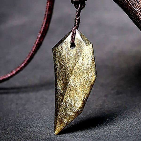 Collier Loup Pierre obsidienne d'or