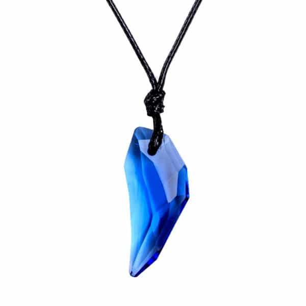 Collier Loup Cristal bleu foncé